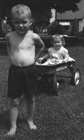 Keith and his sister, Kay, August 1961